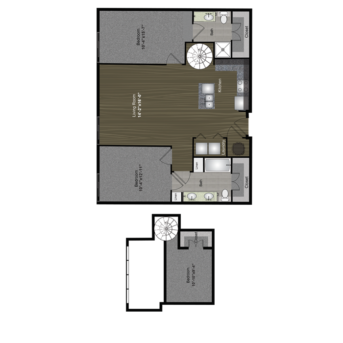 1,186 sq. ft. Travis Loft floor plan