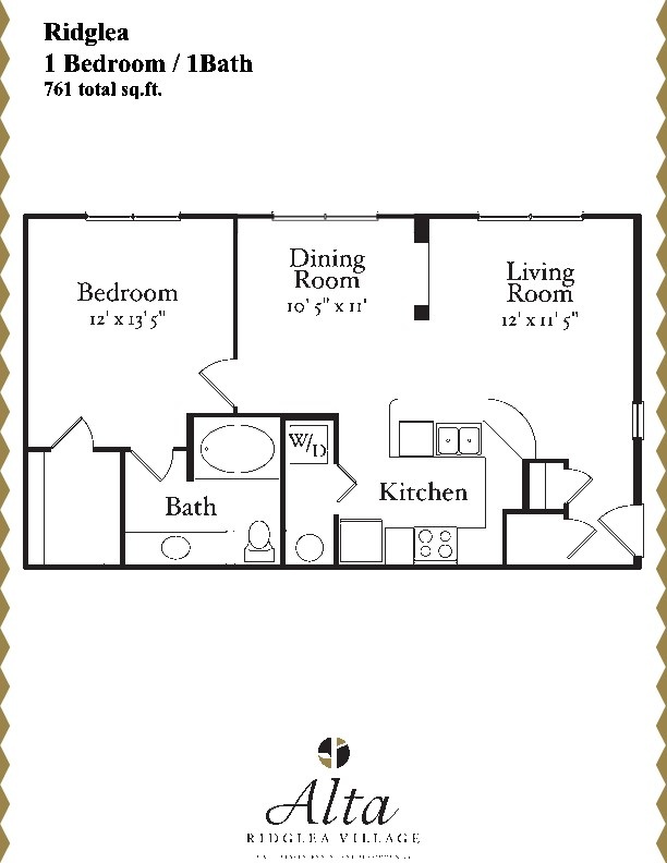 761 sq. ft. Ridglea floor plan