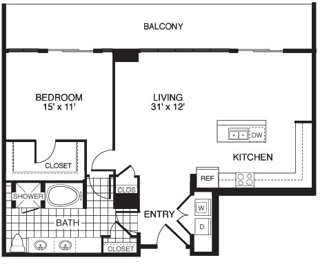 1,053 sq. ft. Energetic/Tower floor plan