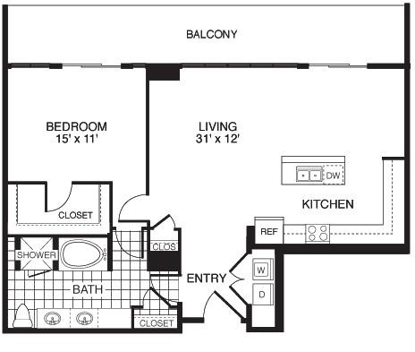 1,053 sq. ft. D4/TOWER floor plan