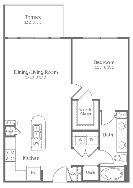 808 sq. ft. A4 floor plan