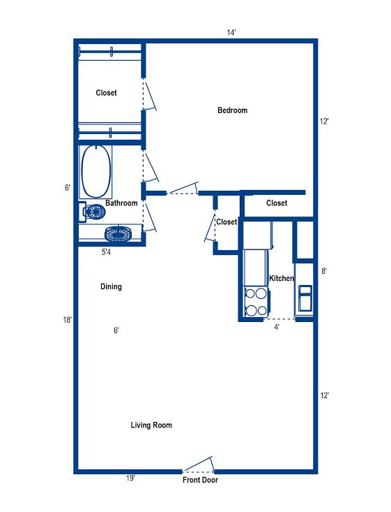 700 sq. ft. to 714 sq. ft. 1F floor plan