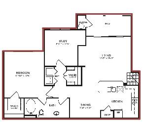 995 sq. ft. Azalea floor plan
