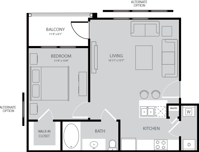 705 sq. ft. Austen floor plan