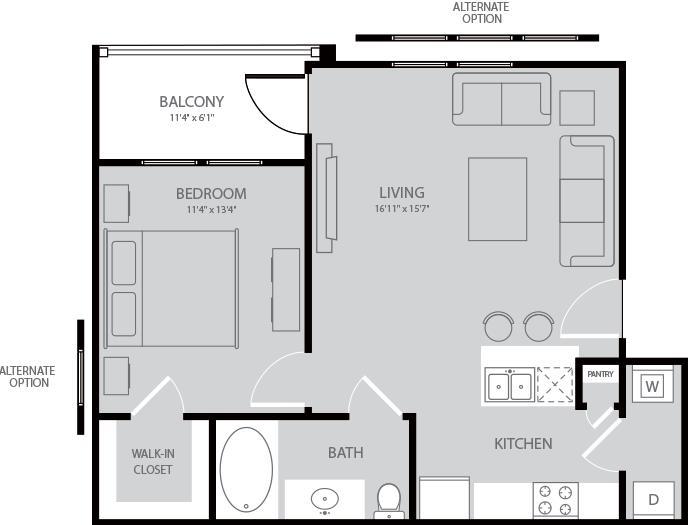 705 sq. ft. Austen floor plan