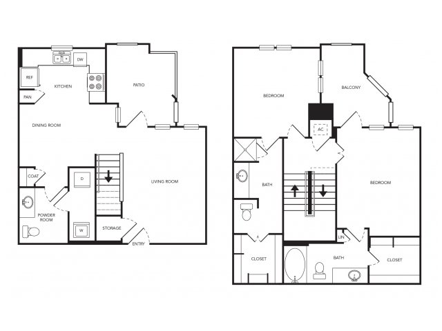 1,305 sq. ft. TH1 floor plan