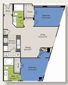 1,086 sq. ft. B7 floor plan