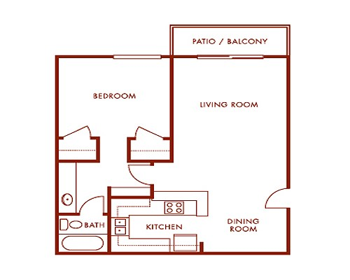 500 sq. ft. E1 floor plan