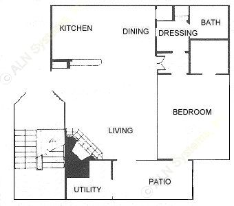 679 sq. ft. 1C floor plan