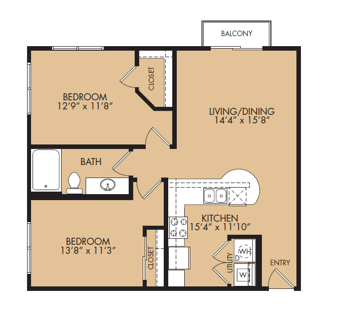 875 sq. ft. A3-Ethos floor plan
