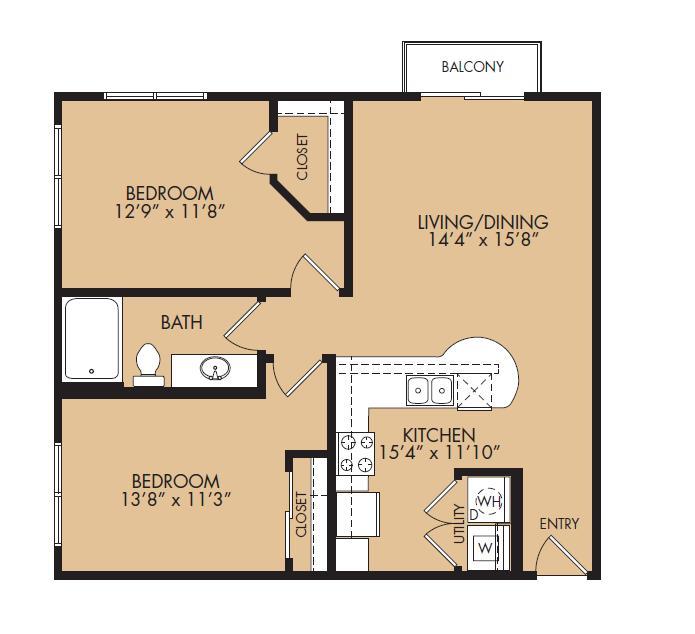 875 sq. ft. A3-Ethos floor plan