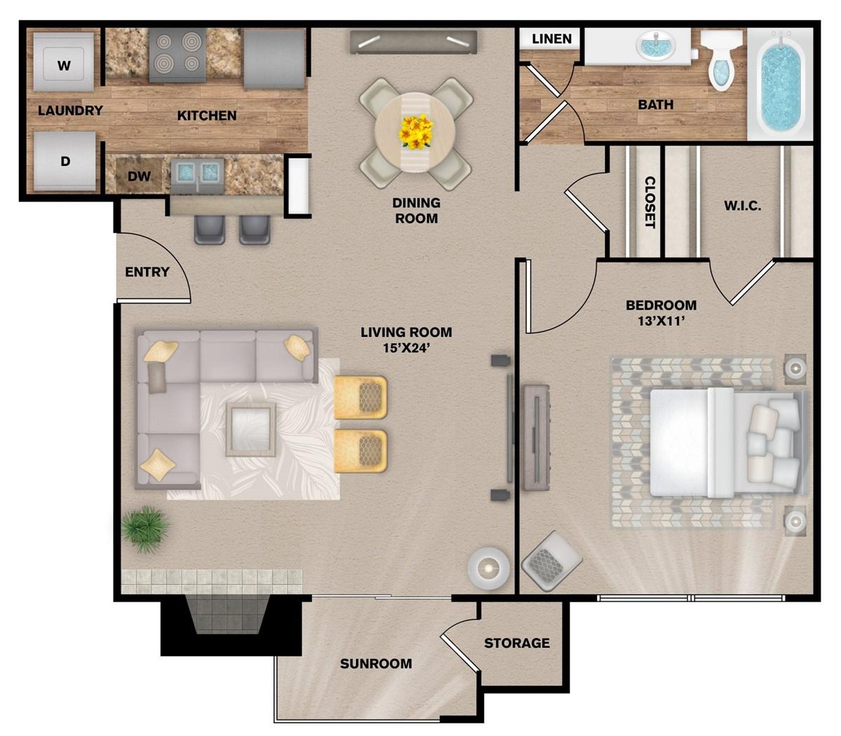 785 sq. ft. A-2S floor plan
