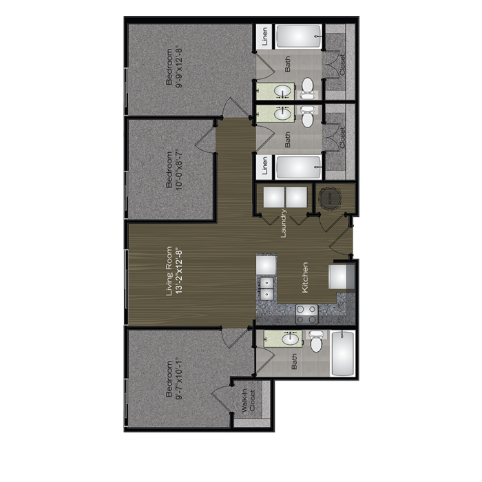 1,082 sq. ft. SXSW floor plan