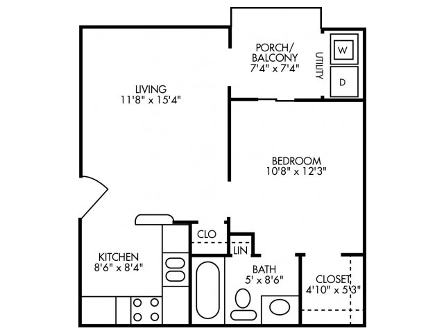 503 sq. ft. A1 floor plan