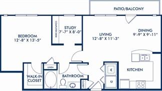 880 sq. ft. Sacks floor plan