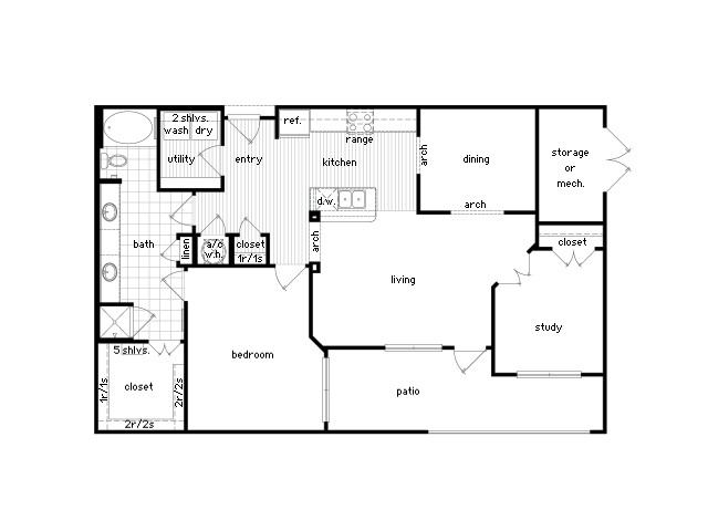 1,203 sq. ft. A8 floor plan