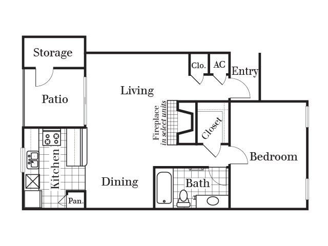 656 sq. ft. A3 floor plan