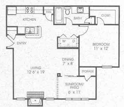 764 sq. ft. A3 floor plan