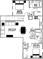 1,364 sq. ft. 60% floor plan