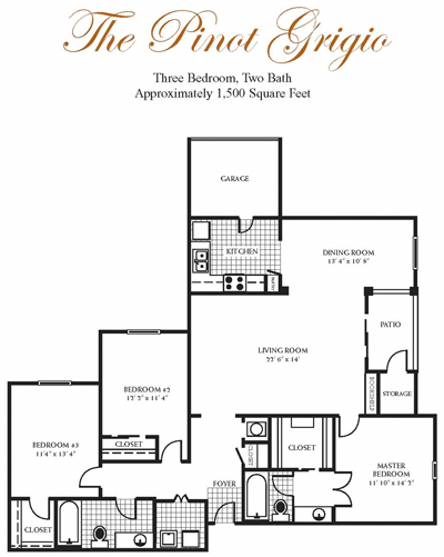 1,500 sq. ft. Pinot Grigio floor plan