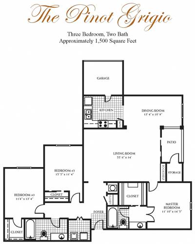 1,500 sq. ft. Pinot Grigio floor plan