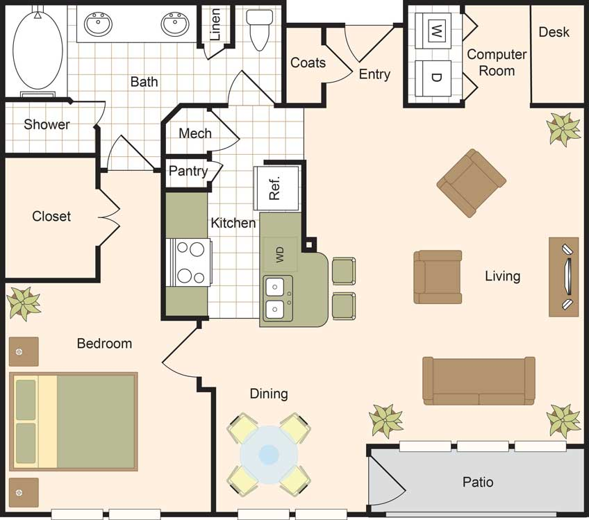1,009 sq. ft. A5 floor plan