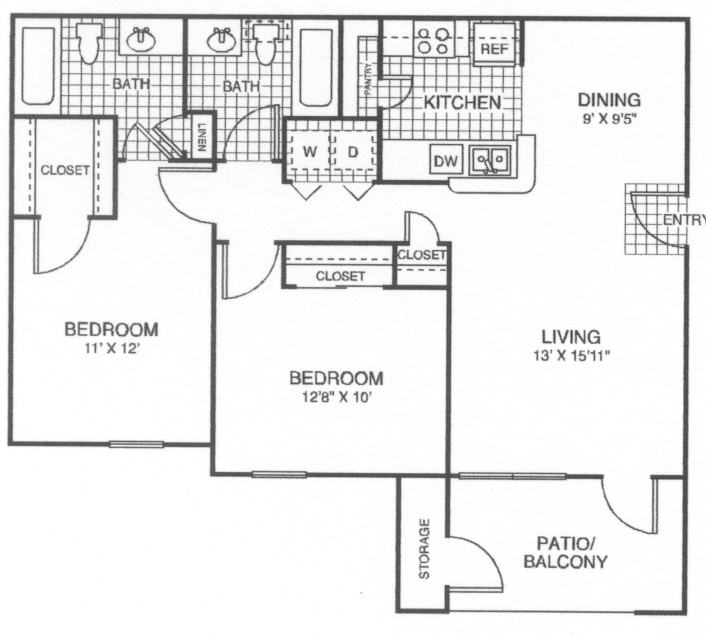 950 sq. ft. 60 floor plan