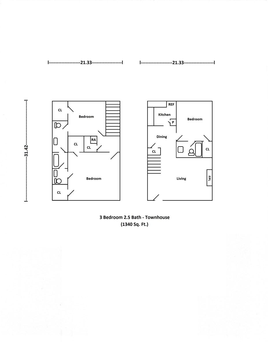 1,340 sq. ft. floor plan