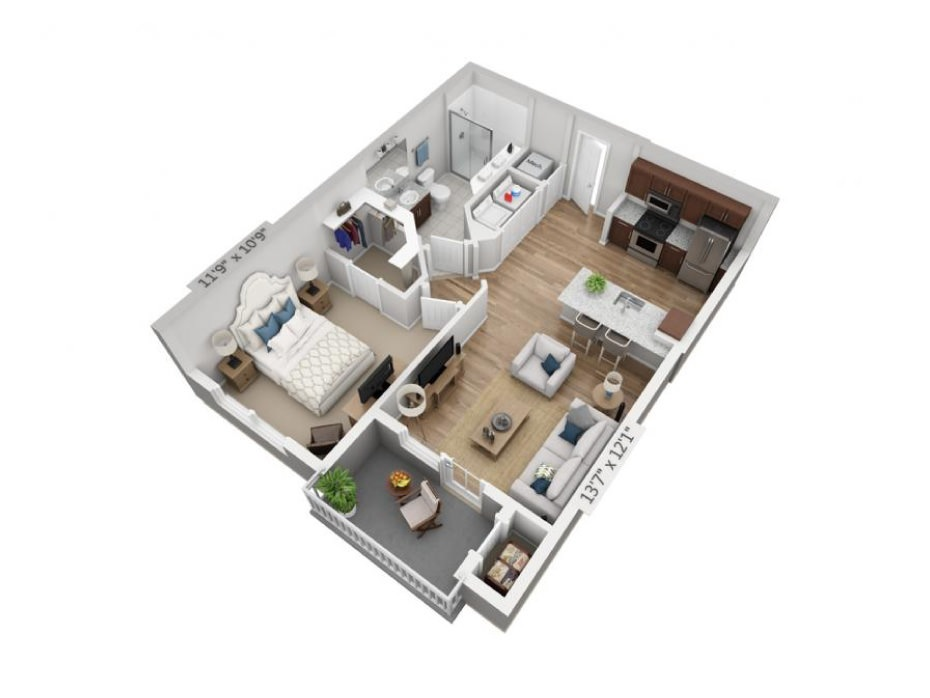 665 sq. ft. A1A floor plan