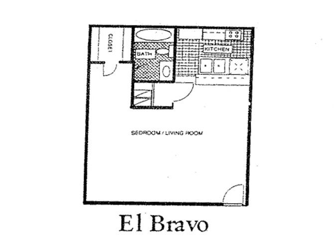 537 sq. ft. 60% floor plan