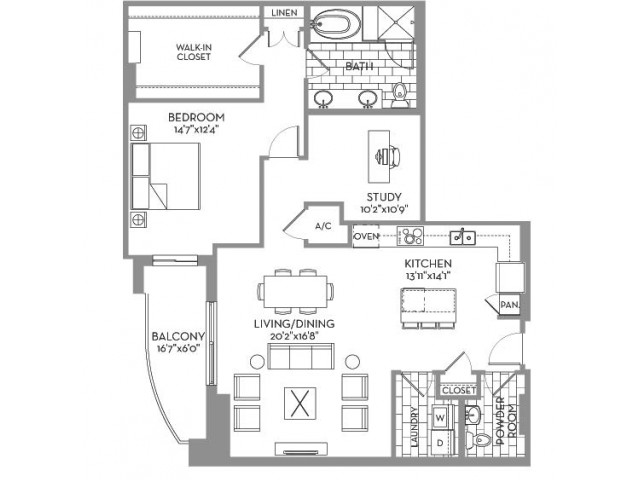 1,344 sq. ft. Preston(A.11) floor plan