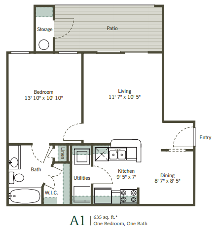 635 sq. ft. A1 floor plan