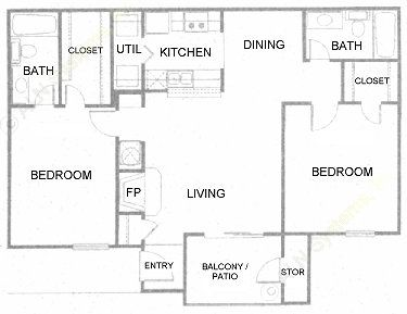 876 sq. ft. B floor plan