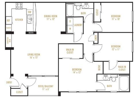 1,365 sq. ft. Riviera floor plan