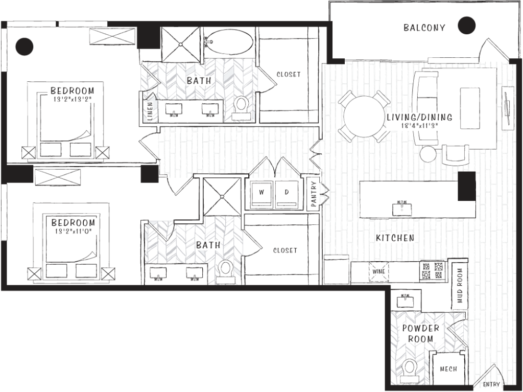 1,377 sq. ft. B4 floor plan