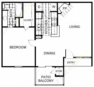 700 sq. ft. A3 floor plan