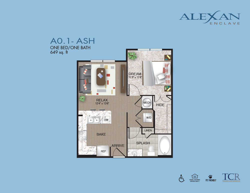 649 sq. ft. A0.1 floor plan
