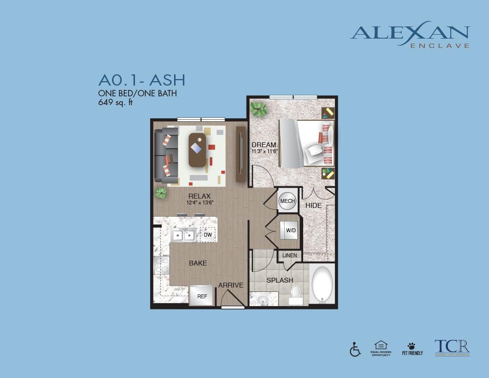 649 sq. ft. Ash floor plan