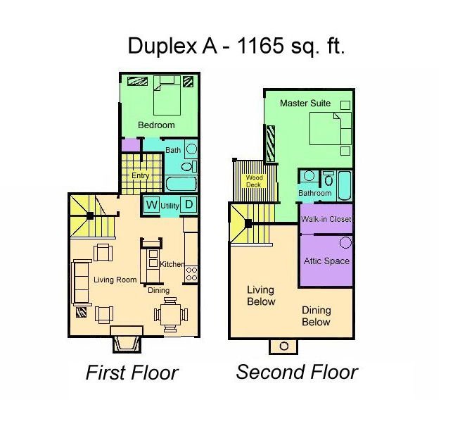 1,165 sq. ft. Duplex A floor plan