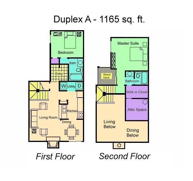 1,165 sq. ft. DUPLEX floor plan