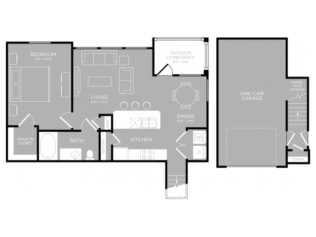 840 sq. ft. Town Lake A6 floor plan