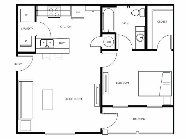 702 sq. ft. A1 floor plan