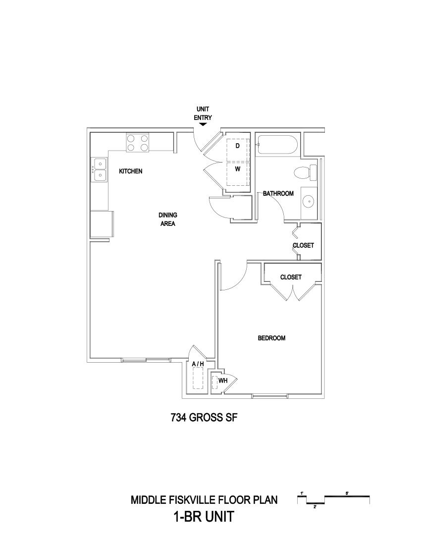 734 sq. ft. ADA/60% floor plan