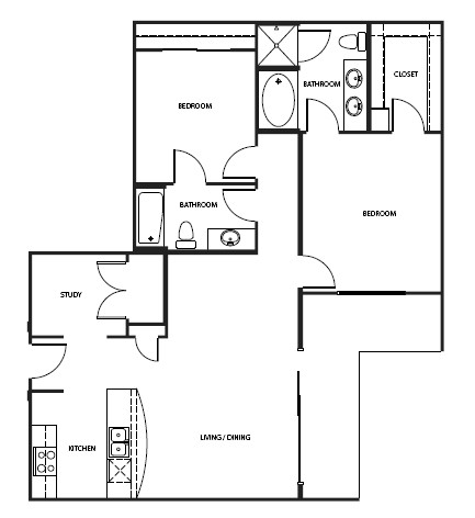 1,274 sq. ft. 3B2-1 floor plan