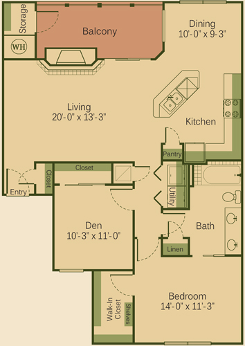 1,105 sq. ft. to 1,132 sq. ft. 1BD-FP floor plan