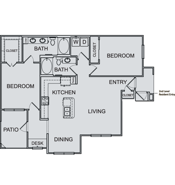 1,187 sq. ft. B3 floor plan