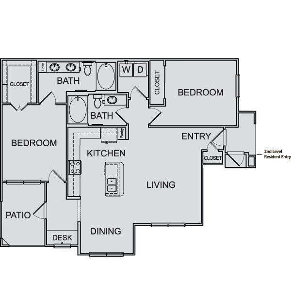 1,187 sq. ft. B3 floor plan