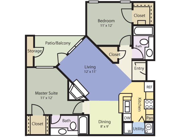 980 sq. ft. Evergreen floor plan