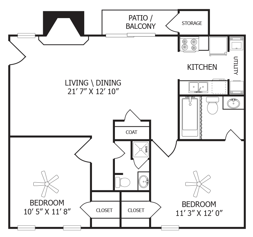 800 sq. ft. B1 floor plan