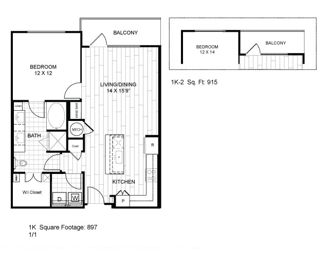 915 sq. ft. 1K-2 floor plan